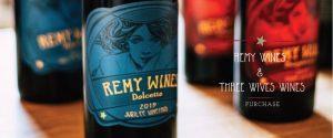 wine bottles with vivid labels